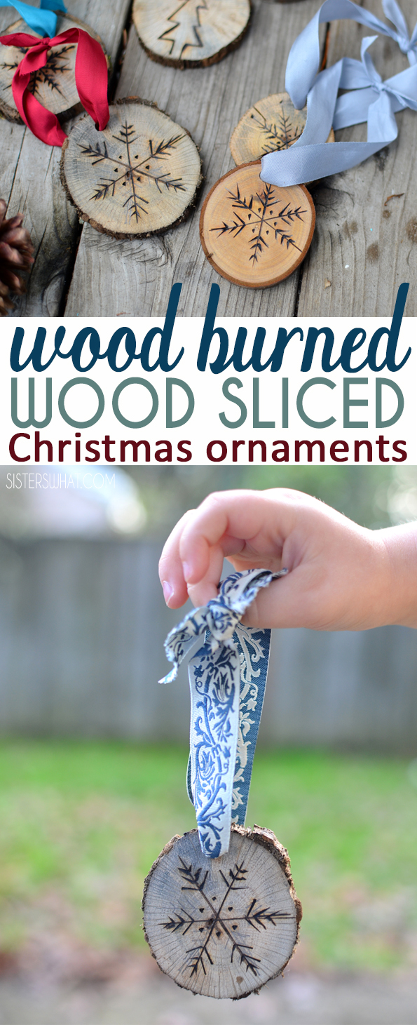 A fun wood burner craft making wood burned ornaments out of tree slices Christmas ornaments