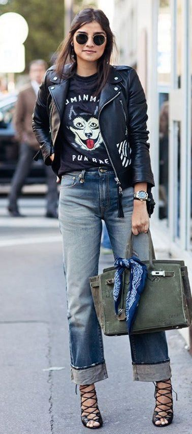 street style addiction / leather jacket + printed top + bag + boyfriend jeans + lace up heels