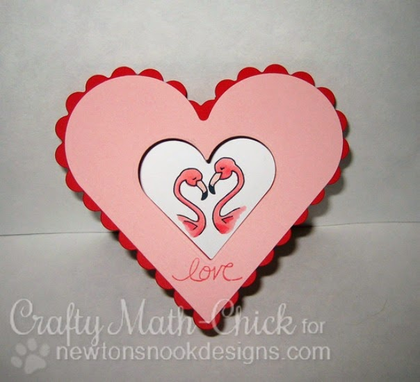 Heart Shaped Valentine card by Crafty Math-Chick  | Flirty Flamingos Stamp set by Newton's Nook Designs