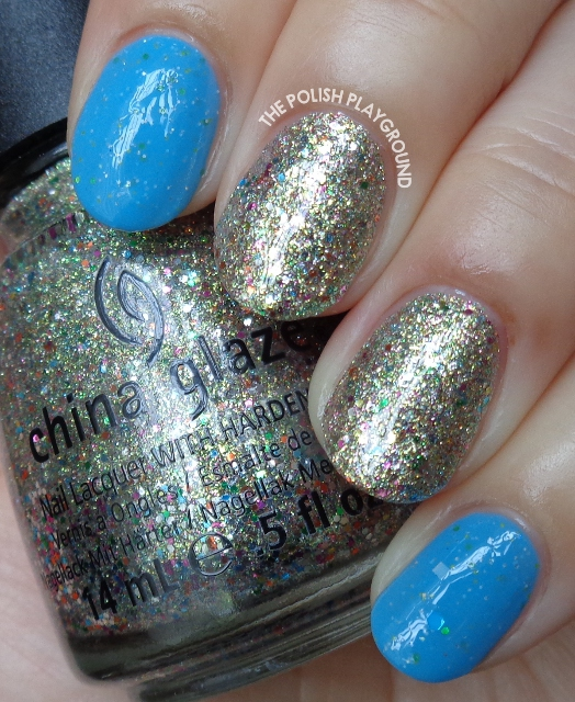 Blue Crelly and Multi Glitter Accent Nail Art