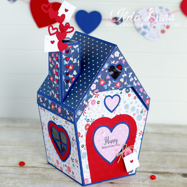 Gift,SVGCuts files,3D,#SVGCuts,3D House,Fleurette Bloom Stamps,Valentine's Day Mailbox,teacher Gift,ilovedoingallthingscrafty,