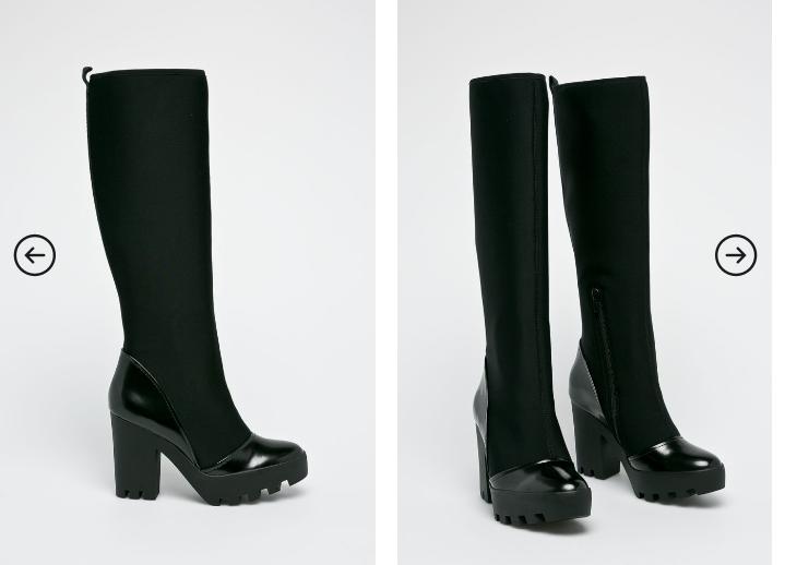 Calvin Klein Jeans - Cizme originale de iarna lungi cu toc gros negre 2019
