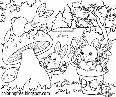 Traditional Easter bunny cute baby rabbits coloring pages for kids clipart egg printable art drawing