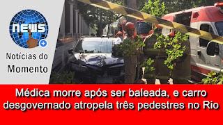 Médica é baleada, perde controle do carro, atropela três pedestres e morre após colidir com poste.