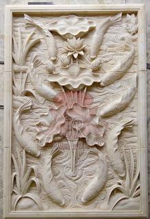 relief batu jogja motif ikan koi 9