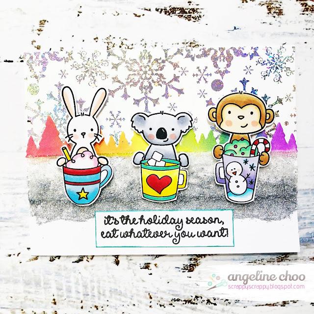 ScrappyScrappy: Kat Scrappiness Coffee Oasis blog hop - Merry Christmas card #scrappyscrappy #katscrappiness #averyelle #newtonsnookdesigns #brutusmonroe #thermoweb #decofoil #ginakdesigns #copicmarkers #timholtz #distressoxideink #foiling #fancyfoil #heidiswapp #nuvoglimmerpaste #tonicstudios #merrychristmas #christmas #christmascard #card #cardmaking #christmas2018  #KatScrappinessCharityBlogHop #CoffeeOasis