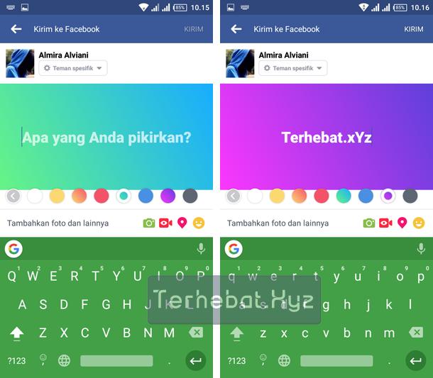 cara membuat status warna facebook android