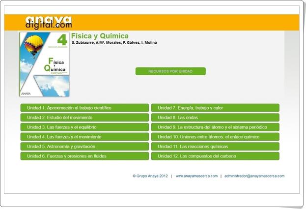 """Anaya Digital: """"Física y Química de 4º de Secundaria"""""""