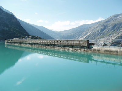 The Gelmer dam that forms the lake