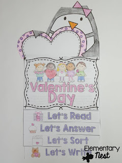 Valentines Day Reading Flip Book- February Activities and FREEBIES- activities for primary students- February reading, math, writing, social studies and more! Valentine's Day, Presidents Day, Black History Month, Dental Health Month