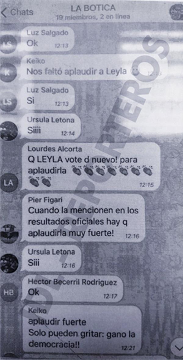 Chat La Botica: Ordenes de Keiko Fujimori