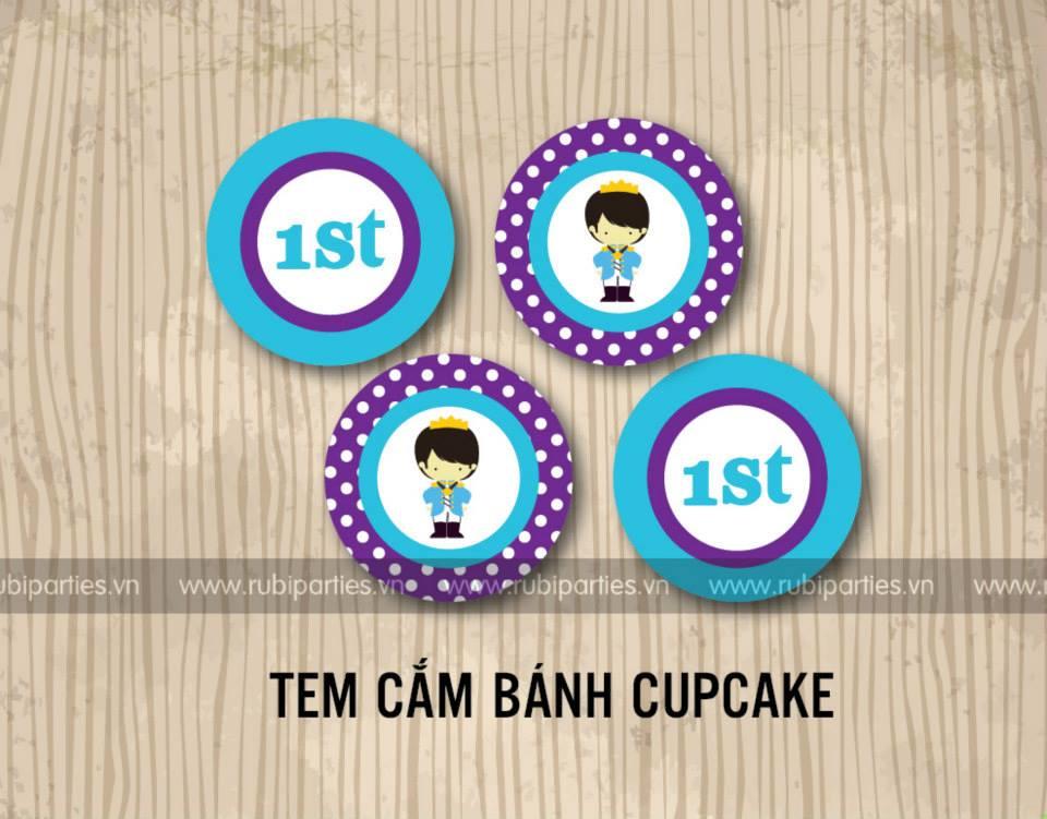 Tem cam banh cupcake sinh nhat theo chu de Hoang Tu