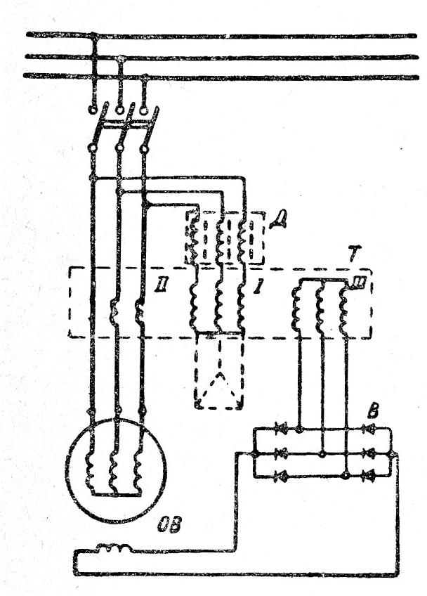 Принципиальная схема системы самовозбуждения и саморегулирования синхронного генератора