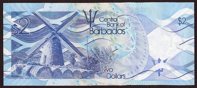 Barbados money currency 2 Dollars banknote 2013 Morgan Lewis Windmill