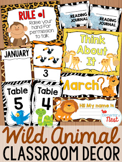 Wild Animal Themed- Classroom Decor Collection to transform your classroom- pick a scheme or a theme to make your classroom decorated and organized