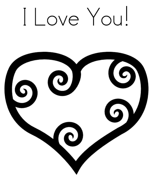 Heart Love You Valentine Coloring Page