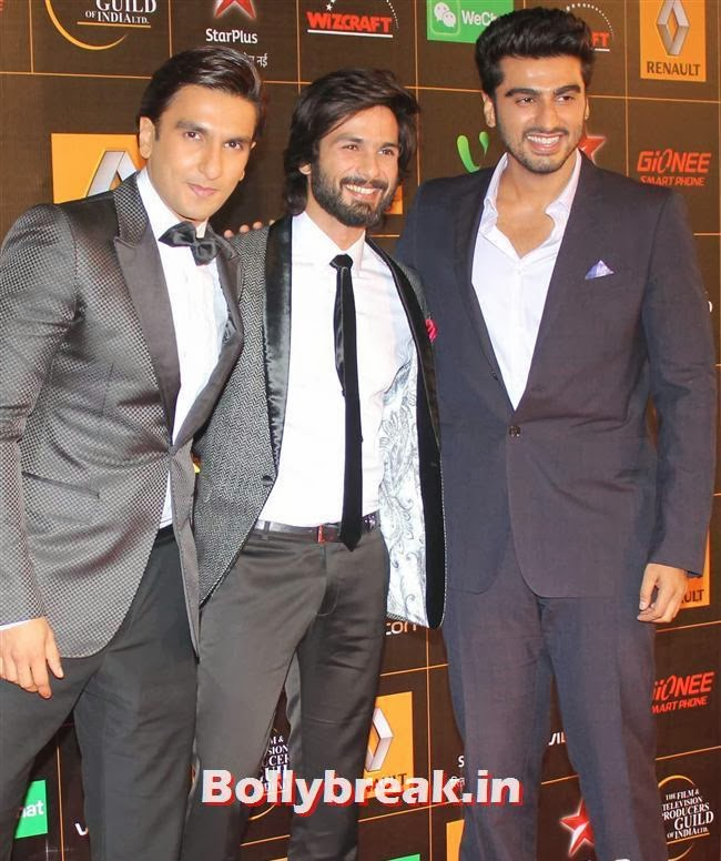 Ranveer Singh, Shahid Kapoor and Arjun Kapoor, Star Guild Awards 2014 Pics