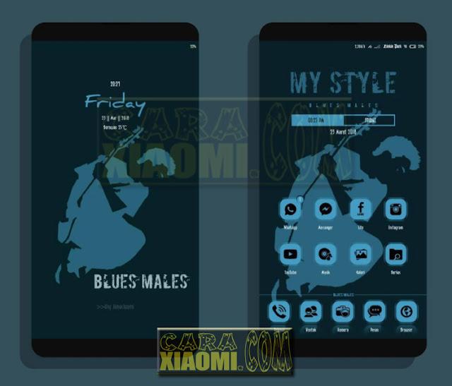 Tema Xiaomi Blues Males Mtz For MIUI Update Desain Interface