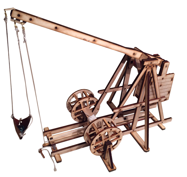 1/30th scale mode of trebuchet at Chateau des Baux
