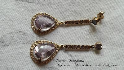 kolczyki ślubne kolczyki z ametystem i cyrkoniami biżuteria ślubna pracownia jubilerska Złoty Lew blog modowy