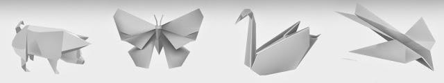 cerdo paloma grulla y colibrí en origami
