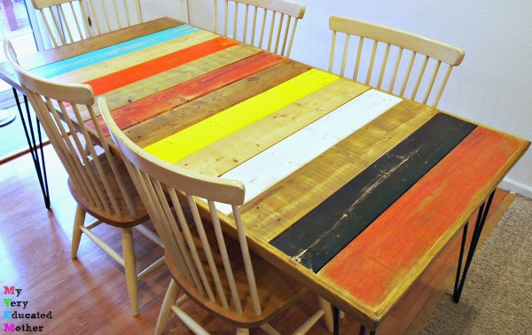 Our pallet wood table was easy, inexpensive, and custom made to fit our family's funky and colorful side!