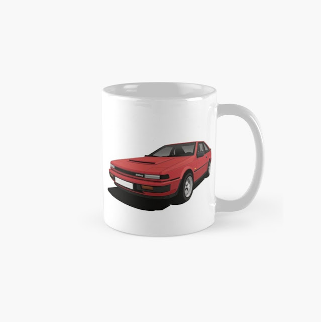 White Nissan Silvia S12 car coffee mug