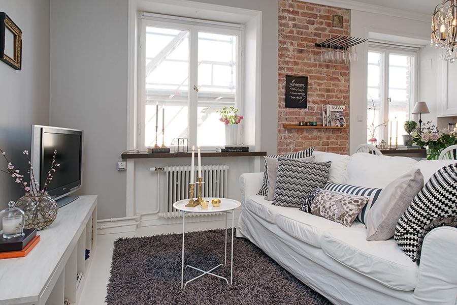 Mały apartament o powierzchni 36m² - wystrój wnętrz, wnętrza, urządzanie mieszkania, dom, home decor, dekoracje, aranżacje, styl skandynawski, scandinavian style, białe wnętrza, white home, małe wnętrza, small apartment, salon