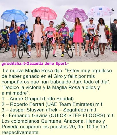 Greipel ha triunfado en la etapa 2 del Giro D'iItalia y es la nueva Maglia Rosa.