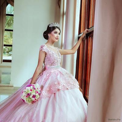 Vestidos de xv Rosa Pastel