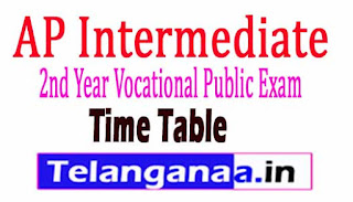 AP Intermediate 2nd Year Vocational Public Exam Time Table 2018