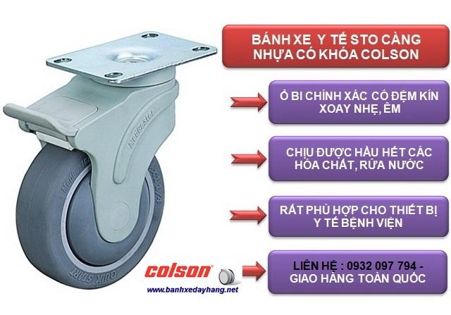 Bánh xe 150 cao su xoay mặt đế có khóa Colson | STO-6856-448BRK4 www.banhxepu.net
