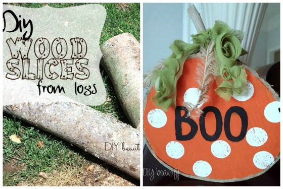 DIY Wood Slice Pumpkins at www.diybeautify.com