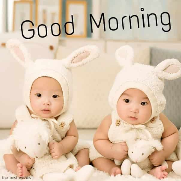 cute baby twins good morning images