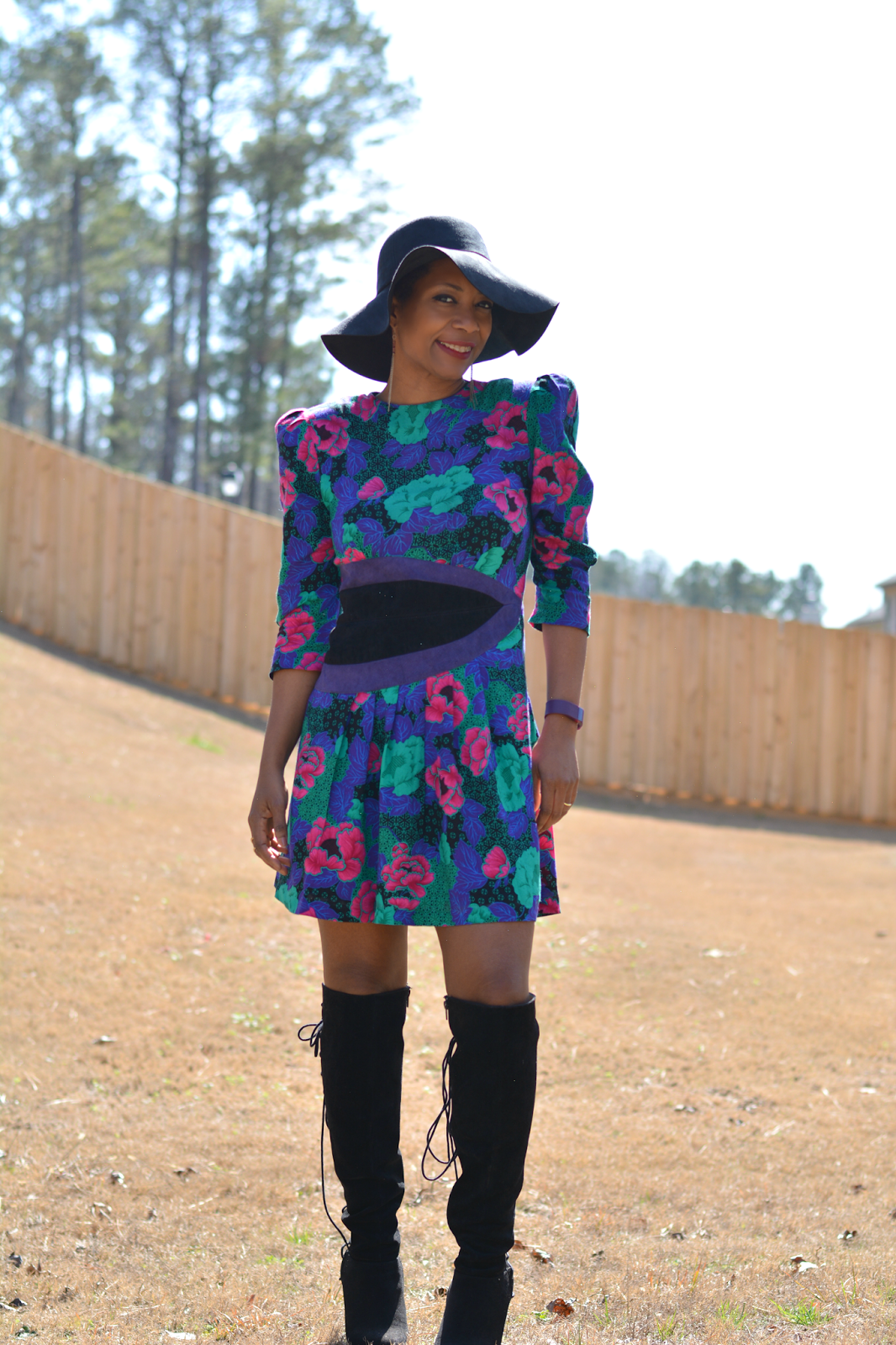 80s floral dress with big shoulder pads