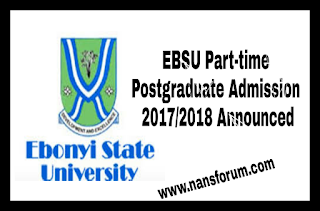 Image for EBSU Part-time Postgraduate Admission 2017/2018 Announced