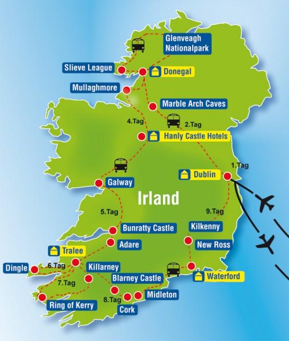 flughäfen irland karte Irland im Bus flughäfen irland karte