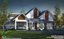 Sloping Roof 250 Square Yards Single Floor House Kerala
