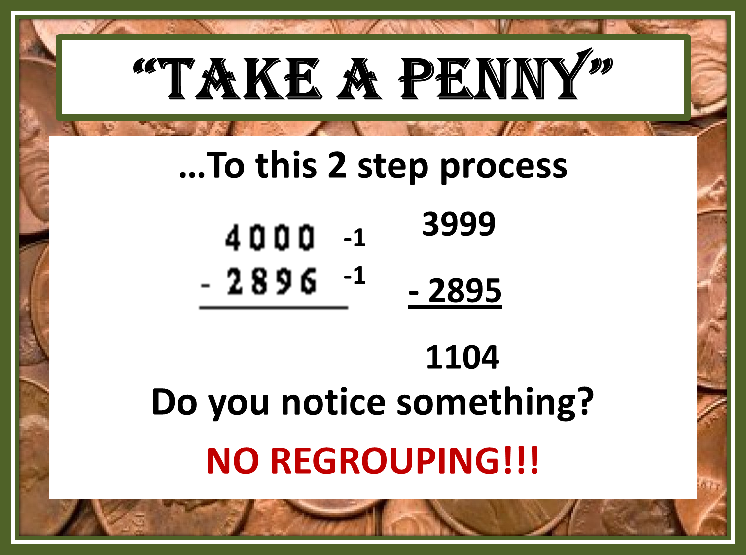 Tricks Of The Teaching Trade Take A Penny And Take Regrouping Out Of Subtraction