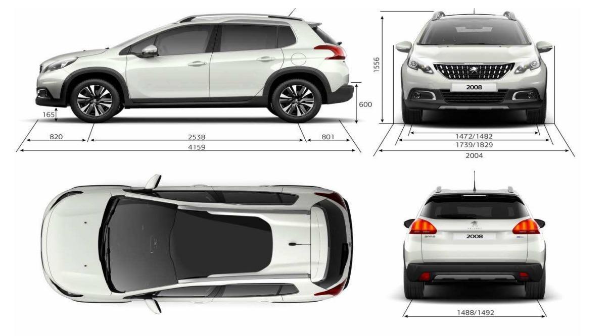 Schema tecnico misure e dimensioni Peugeot 2008 SUV