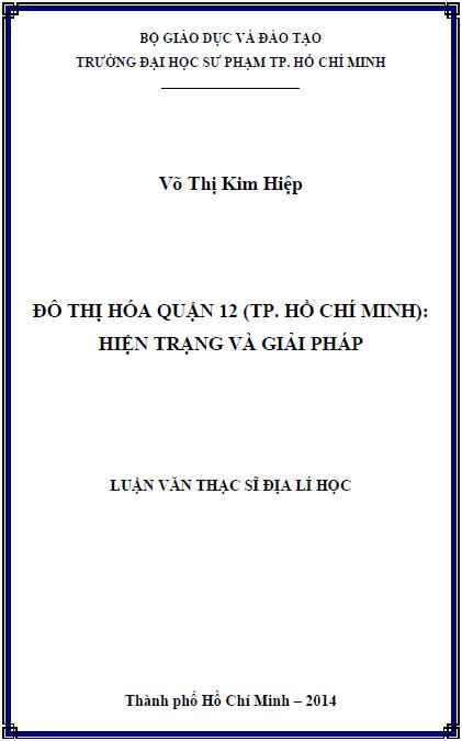 Đô thị hóa Quận 12 (thành phố Hồ Chí Minh) hiện trạng và giải pháp