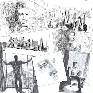 Aynsley Lister sketched visual ideas for Album cover Eyes Wide Open.