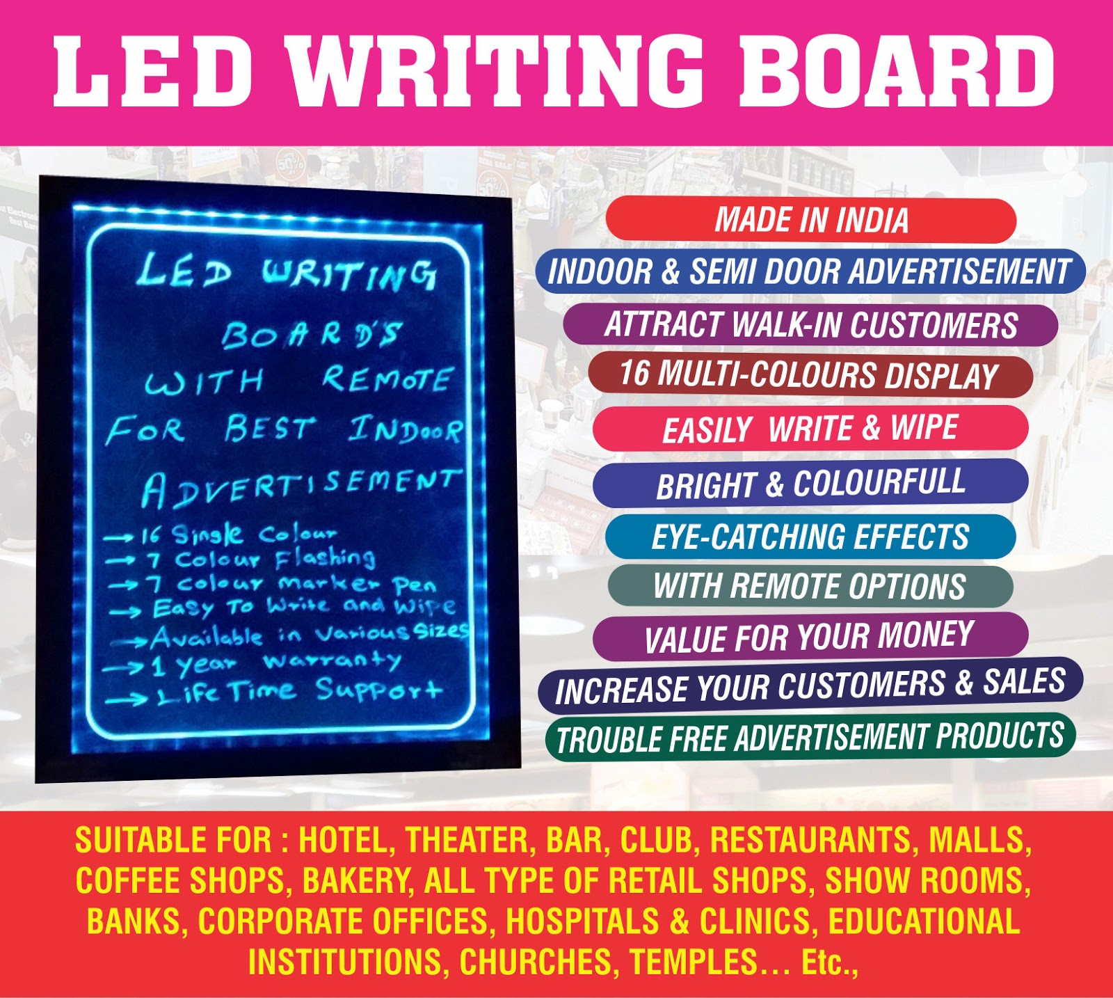 Led writing board manufacturers and suppliers in tamil nadu may 2016 our ero mart led writing board can be used in hotels restaurants shopping malls multiplex cinemas coffee shops pubs bars nightclubs commercial biocorpaavc