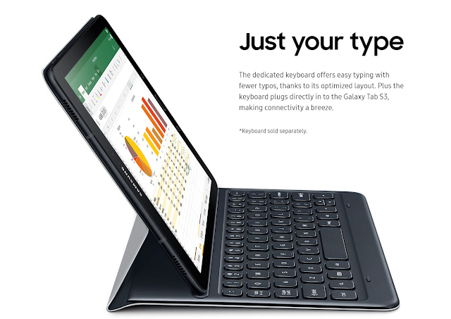 Samsung Galaxy Tab S3 with dedicated keyboard offers easy typing with fewer typos