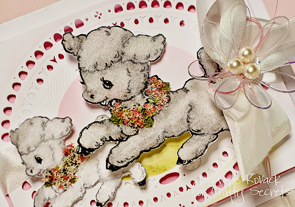 Crafty Secrets baby card with lambs, flower soft, and spellbinders