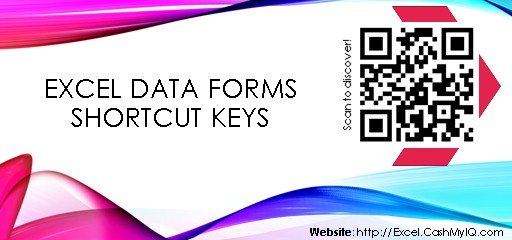 EXCEL DATA FORMS SHORTCUT KEYS