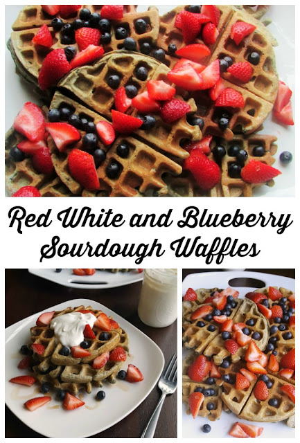 Are you looking for new things to do with your sourdough starter? These blueberry waffles are just the thing! Serve with strawberries and maple whipped cream for a patriotic treat or just enjoy with some syrup for a weekend breakfast or brunch delight!