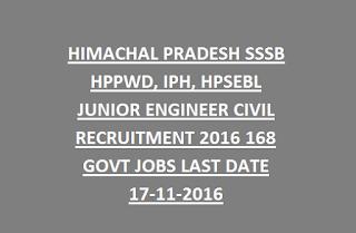 HIMACHAL PRADESH SSSB HPPWD, IPH, HPSEBL JUNIOR ENGINEER CIVIL RECRUITMENT 2016 168 GOVT JOBS LAST DATE 17-11-2016