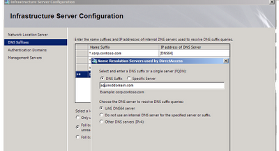 UAG DirectAccess configuration step 3 Infrastructure servers