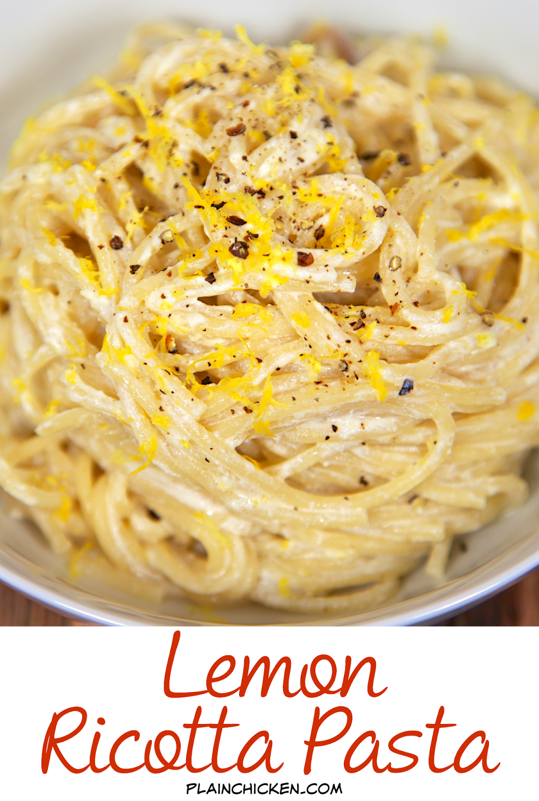 Lemon Ricotta Pasta - only 4 ingredients! Ready in 6 minutes. Super quick and easy side dish. Can add some rotisserie chicken and make it a complete meal. We love this delicious pasta!